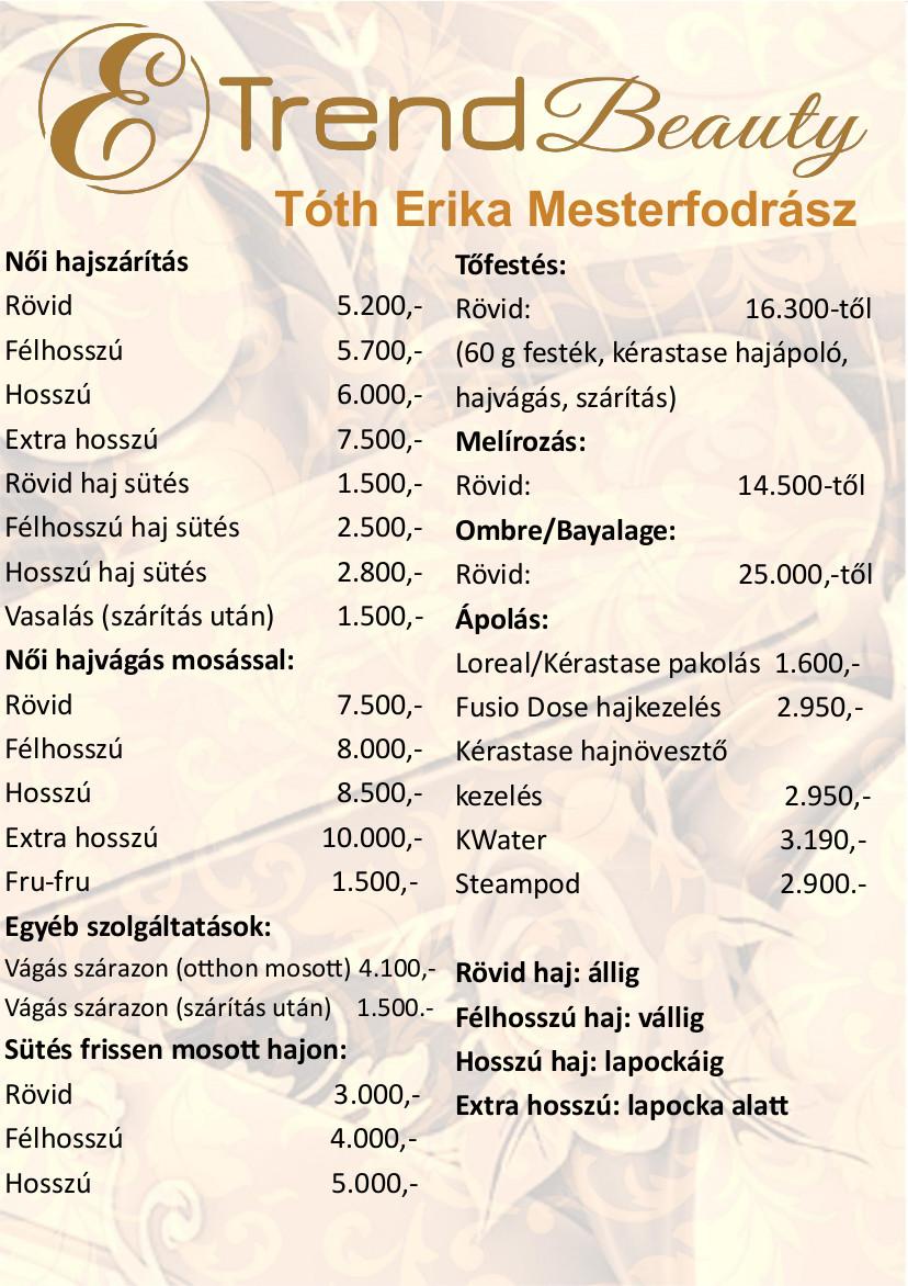 Erika mesterfodrász árlista