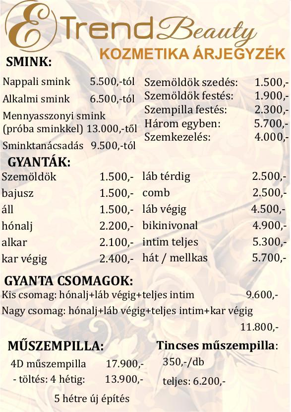Kozmetikus gyanta árlista